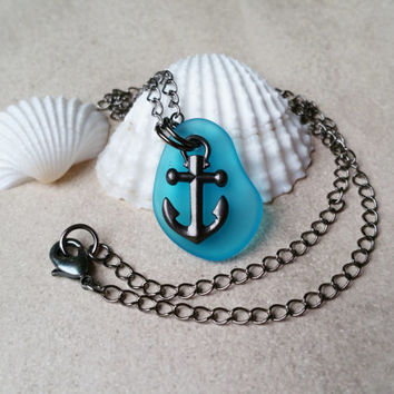 Nautical Anchor Necklace, Sea Life Jewelry with Recycled Glass, Teal Blue Rockabilly Necklace, Sailing Jewelry, Gunmetal Charm Necklace
