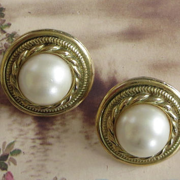 Faux Pearl Earrings, Vintage, Gold Tone Wreath Rims & Simulated Pearl Domes, Pierced, Mother's Day Gift!