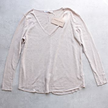 project social t - maria longsleeve v neck seamed sweatshirt - tan