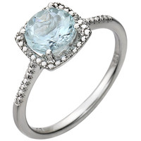 Sterling Silver Aquamarine & .01 CTW Diamond Ring
