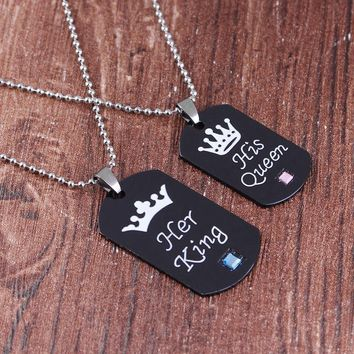 Cool Her King his queen couple crown crystal engraving necklace key chain retro black jewelry crown lover tag pendant couple necklaceAT_93_12