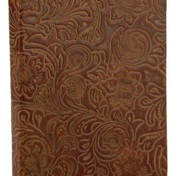 "BARNES & NOBLE | Green Leather Floral Embossed Lined Journal (6""x8"") by Barnes & Noble"