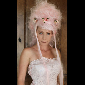 Marie Antoinette Wig // OOAK Pink Wig Wearable by TiffanyDeMichele