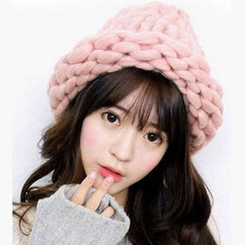 Fashion Women Hat Super Thick Yarns Hand Woven Knitted Hat Winter Warm Slouch Skullies Beanie Ski Cap Coarse Line Thick Crochet
