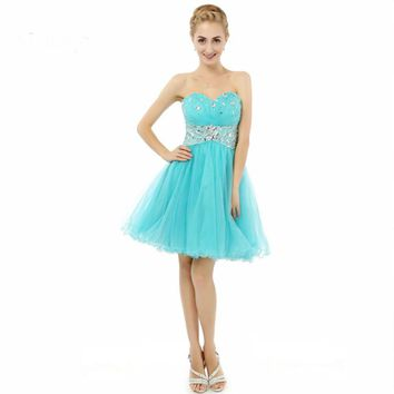 Girl A line Beaded Puffy Tulle Short Party dresses