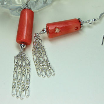 Salmon Coral Earrings, Bamboo Coral Dangles, Beach Jewelry, Coral and Silver Chain Earrings