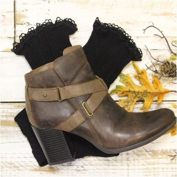 BOOTIE lace boot socks - black