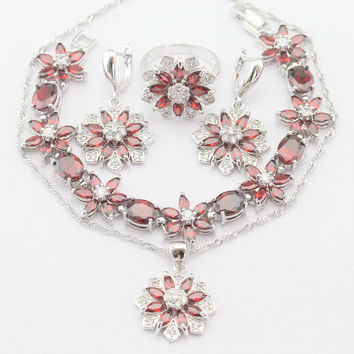 Flower Silver Color Necklace Pendant Earrings Rings bracelet Imitated Red Garnet