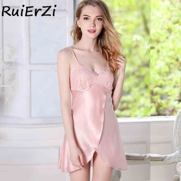 Nightwear Women Sexy V-Neck Cross Lace Trim Drawstring Chemise Nightgown Full Slips Sleepwear Sleepshirt Nightdress Mini Dress