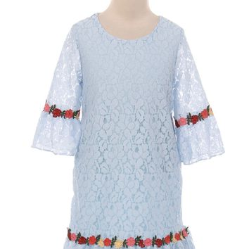 Light Blue Lace Shift Dress w. 3/4 Bell Sleeves & Flower Trim Girls 2T-8