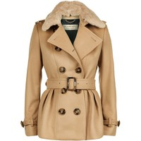 Burberry Fur Collar Skirted Wool Jacket Camel | Harrods