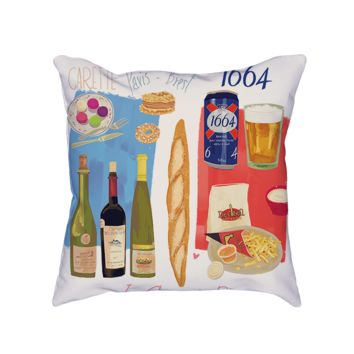 Paris Food Map Pillow