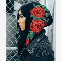 Women Casual Hooded Sweatshirts flower rose print sweater grey hoodie pullover Black