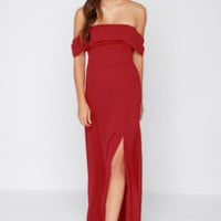 Secret Bluff Off-the-Shoulder Wine Red Maxi Dress