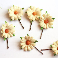 daisy hair pins / woodland, vintage, bridal up-do headpiece, hair accessory, garden wedding, bobby pin set