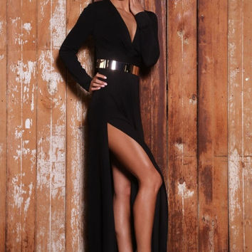 Harper Belted dress (black)