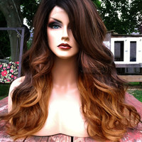 U.S.A. // Ombre Auburn Brown BABY HAIR Heat Safe LACE Front & Part Long Wavy Wig w/ Black Dark Roots