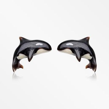 A Pair of Orca the Killer Whale Handcarved Earring Stud