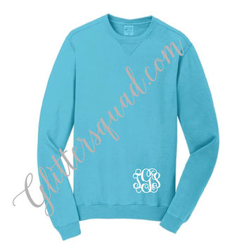 Turquoise Crew Neck Monogrammed Pigment Sweaters - Similar to Comfort Colors Sweaters. Bridesmaid Sweaters