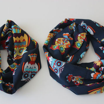 Owl Scarves, Mommy and Me Owl Print Infinity Scarf Set, Mother Daughter Scarves, Mom Daughter Matching Scarf Outfit Owl Gifts Owl Scarf Set