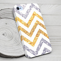 iPhone 4 Case, iPhone 4S Case, iPhone 4 Cases, iPhone 4 Case Wrap Around - Printed Chevron Glitter - 161