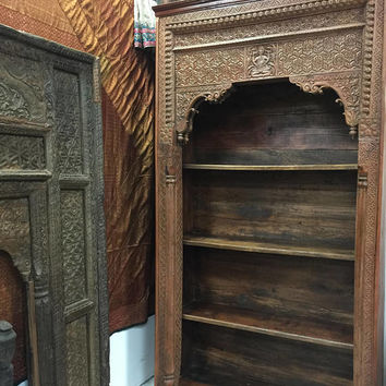Antique Arched hUGE Bookcase Reclaimed India ARCH Ganesha Carved Teak Wood Book Shelf 18C Eclectic Southern tUSCAN