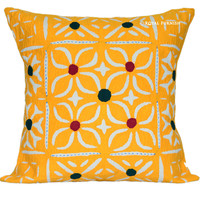 """16"""" Yellow Hand Applique Floral Cut work Cotton Throw Pillow Case on RoyalFurnish.com"""