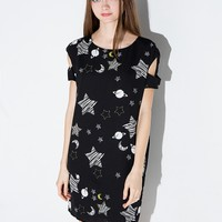 Star and Moon Cut Out Shoulder Dress