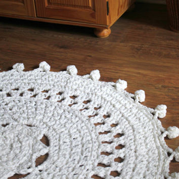 "55"" Crochet Pom Pom Doily Rug, White Rug, Boho Nursery Decor, Boho Wedding Decor, Pom Pom Rug, Nursery Rug, Large Circle Rug, Crochet Rug"