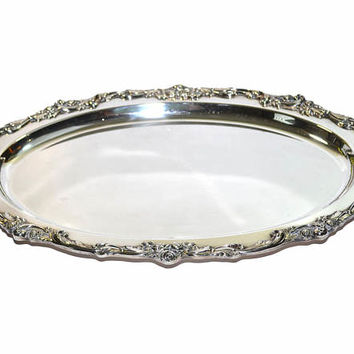 Silver Tray Large Silver Tray Silver Serving Tray Oval Tray Silver Wedding Tray Wedding Decorations French Country Decor