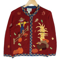 Quacker Factory Scarecrow + Turkey Thanksgiving Ugly Sweater