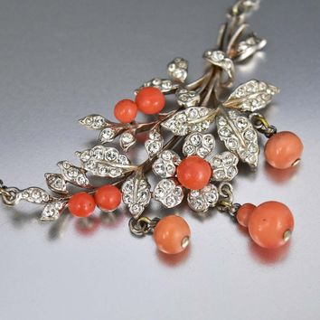 Silver Flower Cluster Antique Coral Necklace
