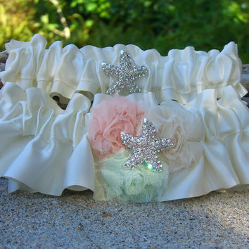Beach Wedding Starfish Garter Set-SEA GLASS and CORAL-Beach Coastal Weddings, Destination Weddings, Mermaids, Bridal Garter, Wedding Garter