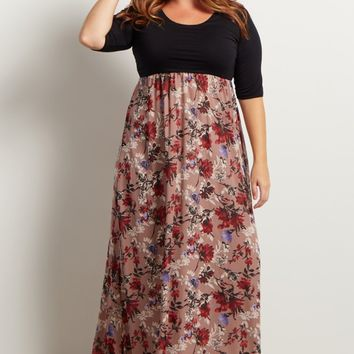 Mauve-Colorblock-Floral-Bottom-3/4-Sleeve-Maxi-Dress