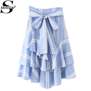 Sheinside Bow Tie Waist Layered Ruffle Skirt  Summer Striped Long Skirt  High Waist Elegant Skirt Blue Skirt