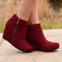 Full Stride Ankle Booties - Burgundy
