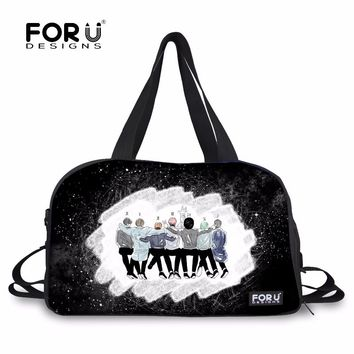 FORUDESIGNS BTS Kpop Bangtan Travel Duffel 3d Printed Portable Women Overnigh Tote Teenage Girls Fashion Hip Hop Luggage Bags