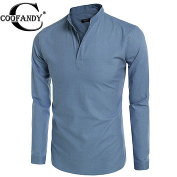 COOFANDY Men long sleeve t shirt Fashion autumn Solid Slim Fit Casua t-Shirt Henley Shirts 55% Hemp, 40% Cotton, 5% Viscose