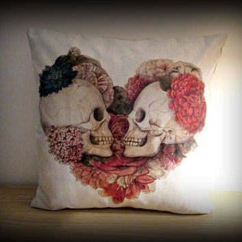 Unique skull design cushion cover,heart skull cushion cover,gothic cushion case ,punk cushion cover, pillow case,pillow cover,