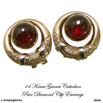 14K Cabochon Garnet Diamond Earrings Pavé Diamonds Vintage 1980s Clip Ons