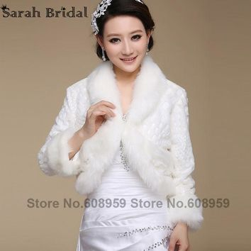 CREYHY3 New Bridal Jacket Coat Faux Fur White Wraps Bolero Shrug Wedding Shawls and Wraps Wedding Accessories Elegant In Stock 17019