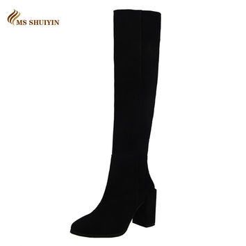 2016 Women boots Autumn winter vintage Knee-high boots Fashion slim Faux suede thick high heels long boots shoes woman Botas