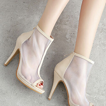 Beige Mesh Panel Peep Toe Heeled Ankle Boots