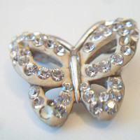 Small Silver Butterfly Pendant AU .925 Rhinestone Jewelry Nature Lover