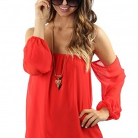 Flaming Red Off-The-Shoulder Top