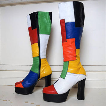Vintage Colourfull Platform Leather Boots, Spirit of the 20s boots     size eur37 uk4 us6
