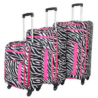 American Green Travel 3-Piece Expandable Lightweight Spinner Luggage Set - Pink Zebra