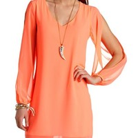 Neon Chiffon Cold Shoulder Shift Dress