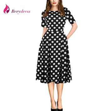 Berydress Women's Vintage Polka Dot Floral Print Patchwork Summer Dress with Pockets Pinup Tunic Work Casual Office Party Dress