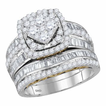 14kt Two-tone White Gold Womens Round Diamond Cluster Bridal Wedding Engagement Ring Band Set 1-3/4 Cttw